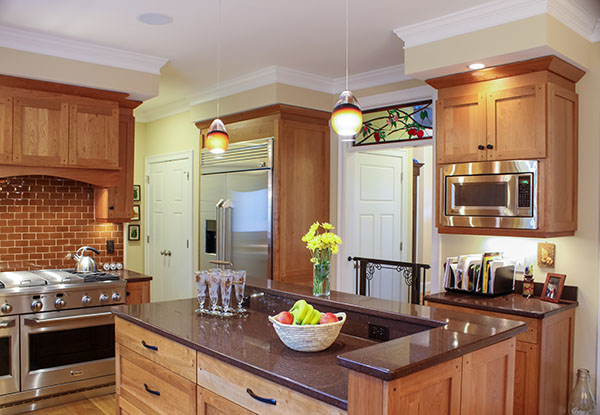 Natural Walnut Kitchen Island In Summit New Jersey: Kitchen Remodel Topsfield MA