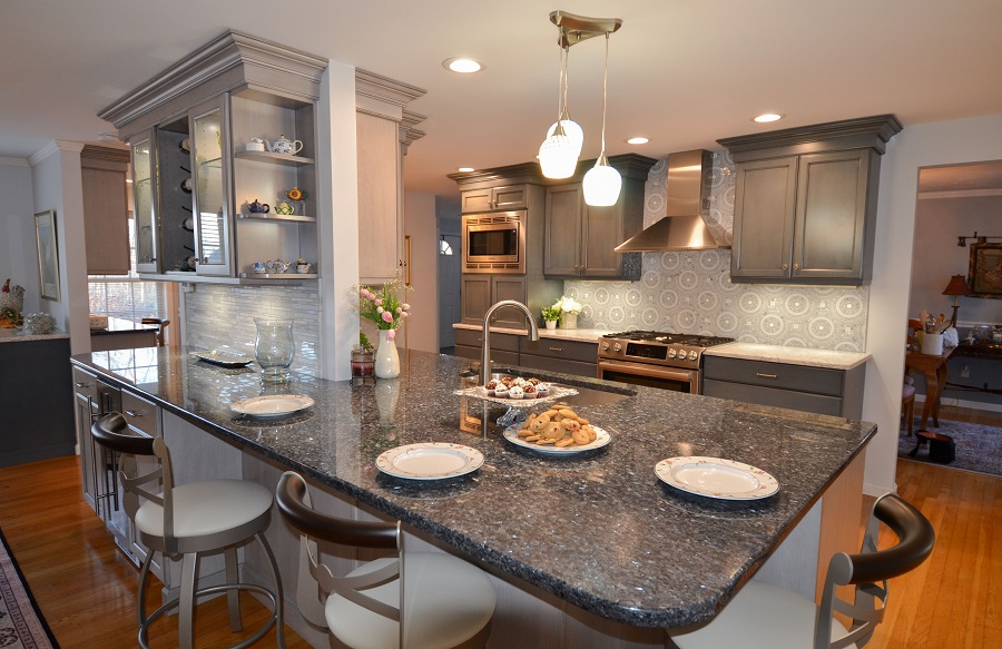 Blue and Gray Kitchen Remodel