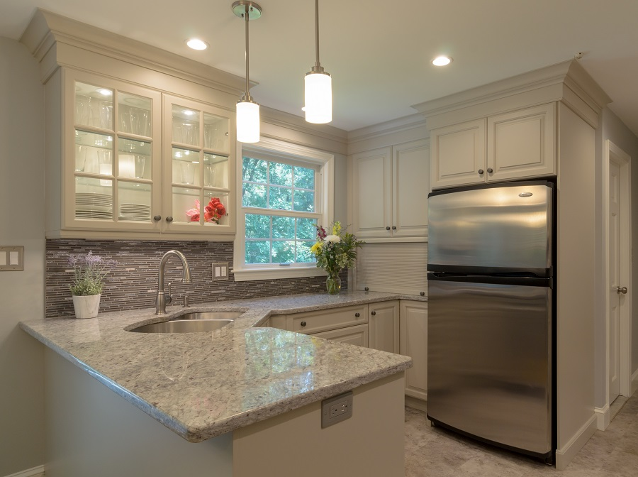 Small Kitchen Remodel In Acton Ma With Off White Cabinets Shaker Grey