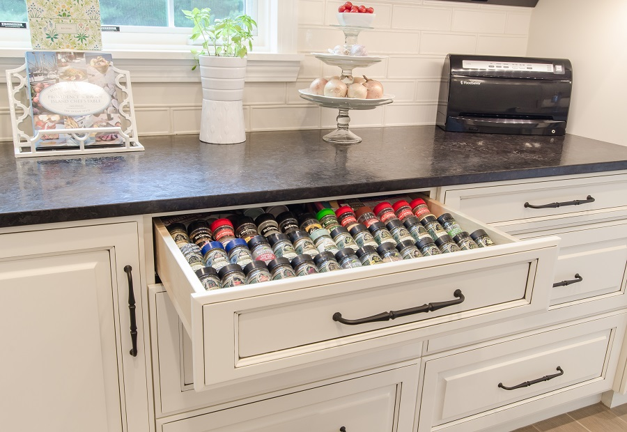 Free up countertop space by installing a built-in spice rack.