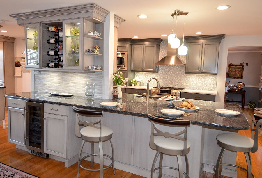 This Dream Kitchen Island combines a wine rack, glass cabinets and a beverage cooler!