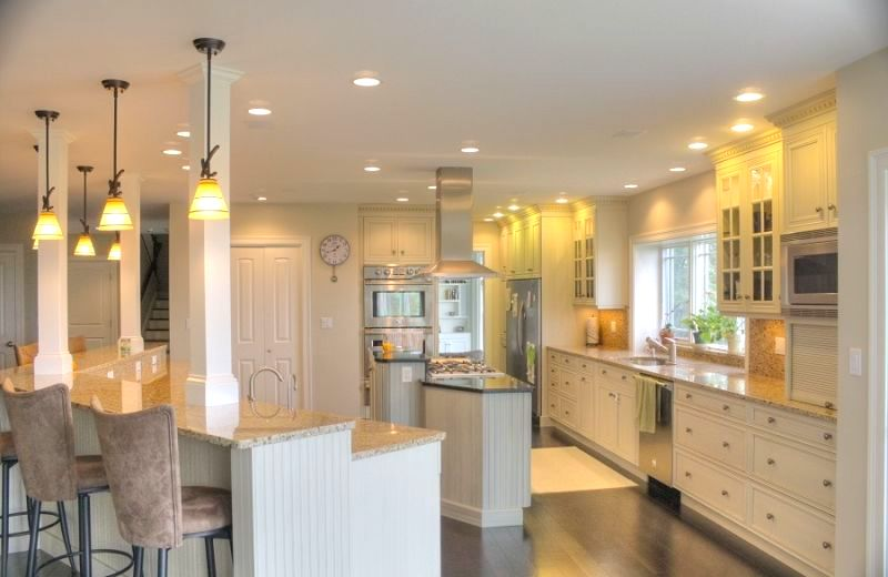 Hanging pendent lights create an elegant atmosphere in any kitchen.