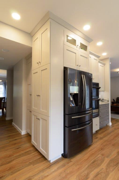 Storage, storage, storage! Floor to ceiling cabinets are an excellent choice to improve storage space.
