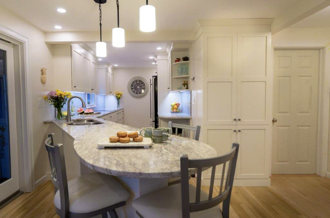 Double your storage with gorgeous shaker white cabinets